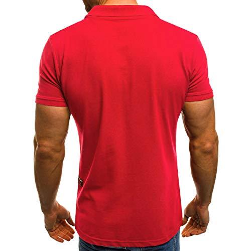 T Slim Manche Simple Courte Top Polo Shirt Casual Homme Noir Pockets Amlaiworld Fit Blouse R0txqw6nF