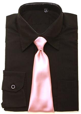 Boys Negro Camisa Rosa Tie: Amazon.es: Ropa y accesorios