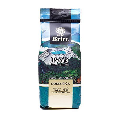 Café Britt® - Costa Rican Poas Tierra Volcanica Coffee (12 oz.) - Whole Bean, Arabica Coffee, Kosher, Gluten Free, 100% Gourmet & Medium Light Roast (1 Year Shelf-Life)