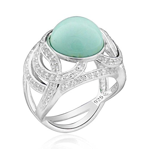 Sterling Silver Genuine Mexican Turquoise & White Topaz Ring Sz 9