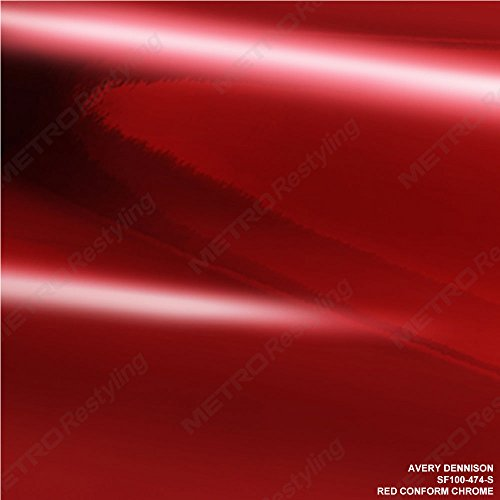 Avery SF100-474-S RED CONFORM CHROME 1ft x 1ft (1 Sq/ft) Car Wrap Vinyl Accent Film Mirror - Mirror Red Finish