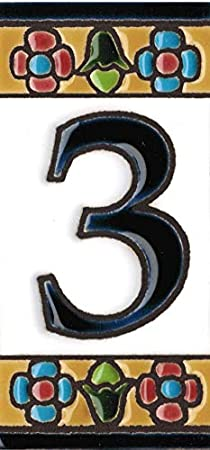 Grabado y Ceramica Espa/ñola Letra H N/úmeros y letras para casas 3,5 x 7,5 cm Pintados a mano con la t/écnica de la cuerda seca