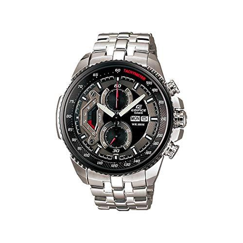 (Casio Men's EF558D-1AV Silver Stainless-Steel Quartz Watch with Black)