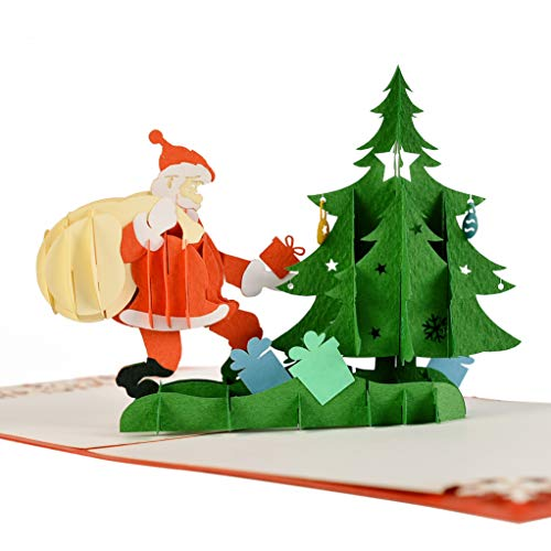 (CUTPOPUP's Xmas Tree and Santa Claus 3D Pop-up Greeting Card for Christmas Day with Perfect Details, Multiple Color Choices, Hand Asembled)