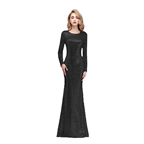 Honey Qiao Modest Bridesmaid Dresses Plus Size Long High Back Prom Party Gown Black ()