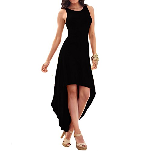 (Unbranded* Women's Casual Sleeveless Open Back High Low Club Cocktail Party Prom Maxi Dress S)