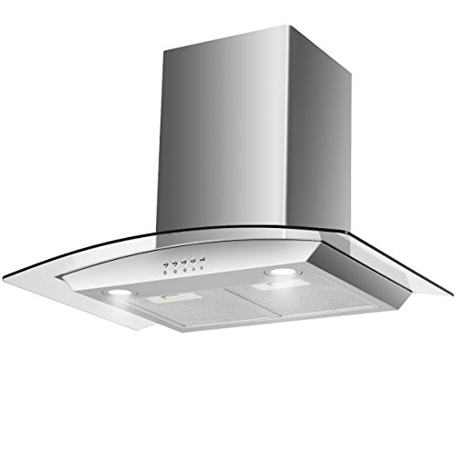 COSTWAY 30″ Wall Mount Range Hood Stainless Steel Kitchen Cooking Vent Fan with LED Light (Wall Mount & Tempered Glass)