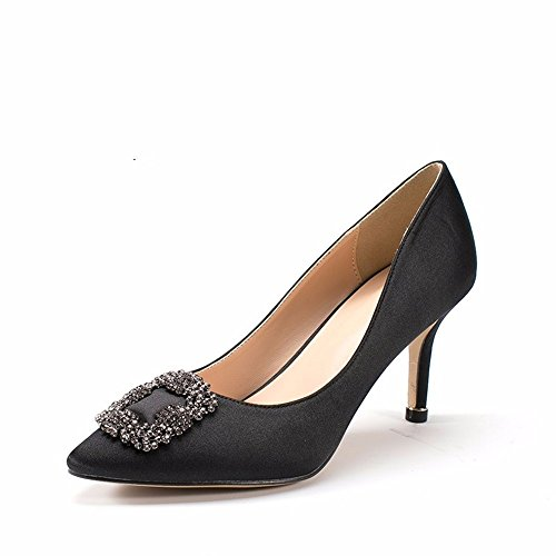 High New Fall Women HXVU56546 Shoes Pointed Shoes Mouth Shallow Buckle Shoes Black Heels Fashion Single x01wnFBSnq