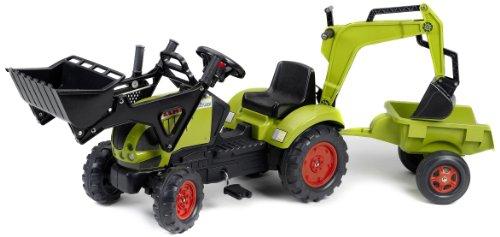 Falk Traktor Trettraktor Claas mit Anhänger Schaufel Heckbagger