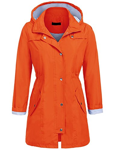UNibelle Women's Waterproof Raincoat Outdoor Hooded Rain Jacket Windbreaker (Orange, (Orange Raincoat)