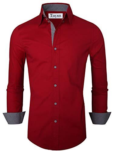 TAM WARE Mens Premium Casual Inner Contrast Dress Shirt TWNMS314S-WINE-US M