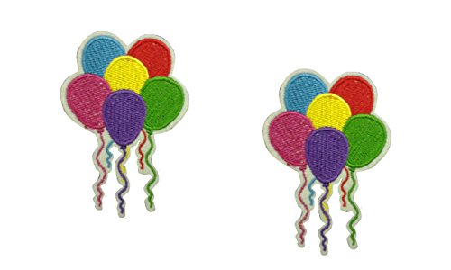 2 pieces PARTY BALLOONS Iron On Patch Fabric Applique Motif Children Decal 3.2 x 2.3 inches (8 x 5.8 cm) (Balloon Motif)