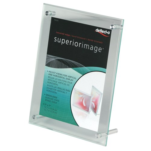 deflect-o Superior Image Beveled Edge L-Frame Base Desktop Sign Holder, 7 x 5 Inches, Acrylic (Edge Sign Holder)
