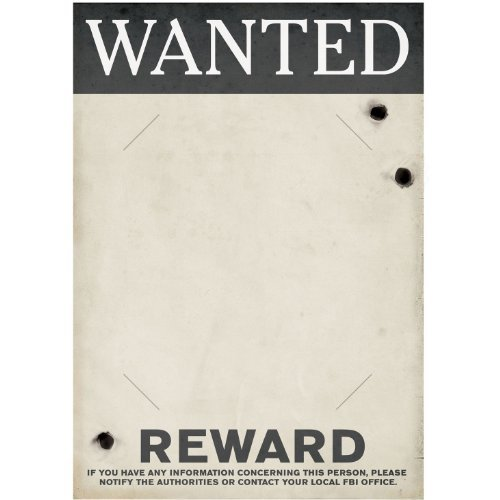 [Gangster Wanted Sign (slotted to hold 8 x 10 photo) Party Accessory  (1 count)] (Police Officer Party Supplies)
