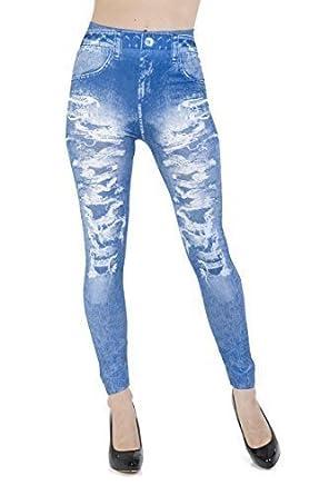 b03c930115f74 Jeggings - Ripped Jeans Effect Leggings - Blue Jean Leggings - Size 14:  Amazon.co.uk: Clothing