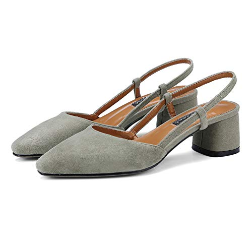 Hollow Pompe Gray Imitated Chunky Una Scarpe Tomaia Heels Out Dgu00940 Scamosciata Donna xYqP8wPE