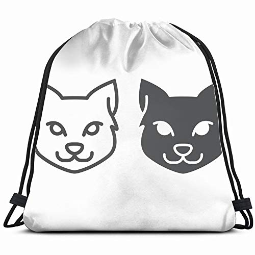 cat line glyph icon halloween pet signs10 Gym Sack Bag Drawstring Sport Beach Travel Outdoor Backpack for Women 17X14 Inch