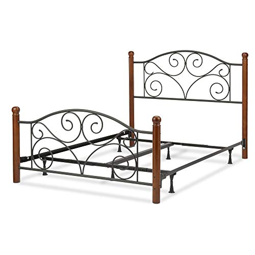Leggett & Platt Doral Complete Metal Bed and Steel Support Frame with Decorative Scrollwork and Walnut Colored Wood Finial Posts, Matte Black Finish, Full