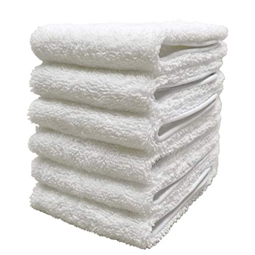 Polyte Premium Lint Free Microfiber Washcloth Face Towel, 13 x 13 in, Set of 6 (White)