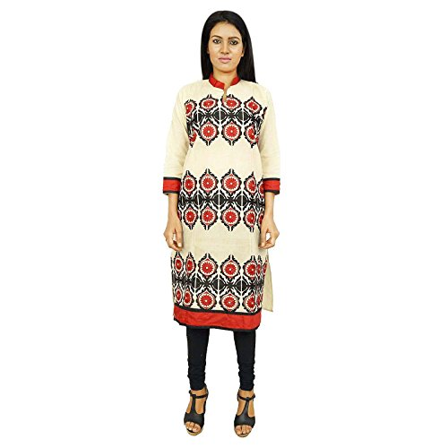 Vestido largo de algodón Kurti sleves Boho Hippie Kurta ropa del verano de la ropa del desgaste Beige con rojo