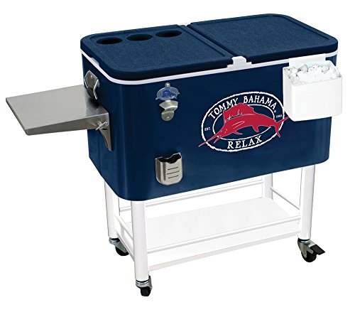 2018 Tommy Bahama - 100 Qt Stainless Steel Rolling Party Cooler - 130 Can Capacity (100 Qt Stainless Steel Cooler On Wheels)