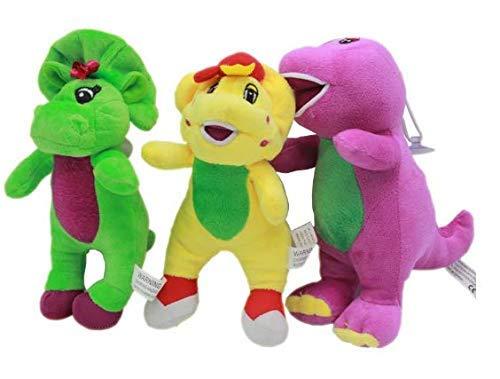 HKP 3pcs / lot 17cm Barney & Friends Plush Toys Doll Barney The Dinosaur Plush Soft Stuffed Toys for Chidlren Kids Xmas ()