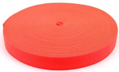 Country Brook Design 1 Inch Safety Orange Tubular Nylon Webbing, 10 Yards