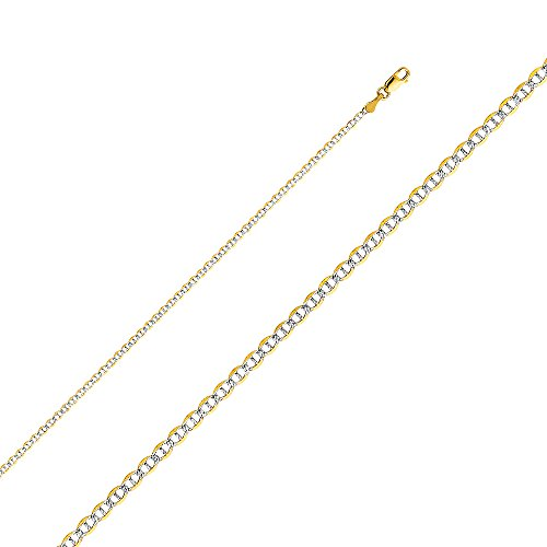 White Pave Flat Mariner Chain (Wellingsale 14k Two Tone Yellow and White Gold SOLID 2mm Polished Flat Mariner White Pave Diamond Cut Chain Necklace with Lobster Claw Clasp - 22