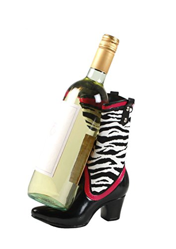 CowGirl Boot Wine Bottle Holder in Zebra Print