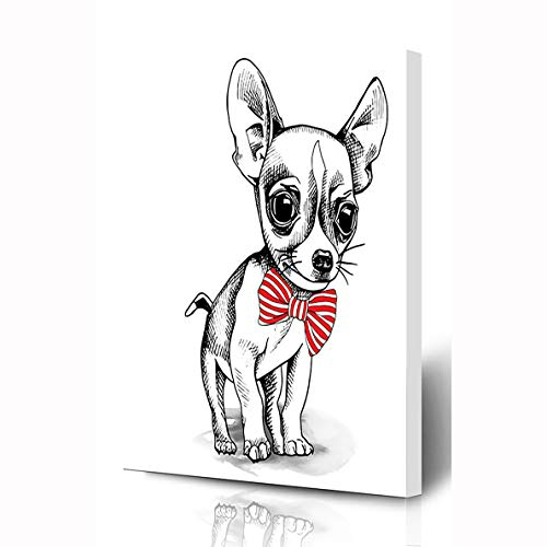 Ahawoso Canvas Prints Wall Art 8x12 Inches Pet Dog Chihuahua Puppy Tie Wildlife Adorable Black Bowtie Cute White Wooden Frame Printing Home Living Room Office Bedroom