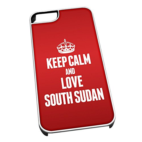 Bianco cover per iPhone 5/5S 2282Red Keep Calm and Love South Sudan