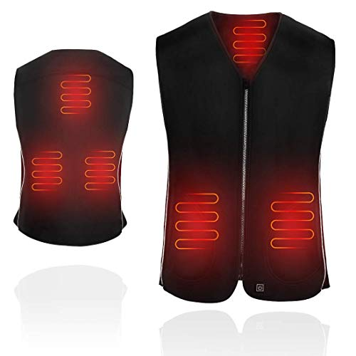 AGPTEK Heated Vest USB Charging, 5V Electric Warmer Washable Heating Clothes for Men, Elderly, Outdoor, Motor, Fishing, Hiking, Hunting, Camping, Upgrade Size:L (Battery Not Included)