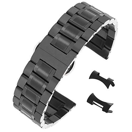 - 20mm Exquisite Brushed Wristband for Men's Watch Black Stainless Steel Watch Strap Straight&Curved End