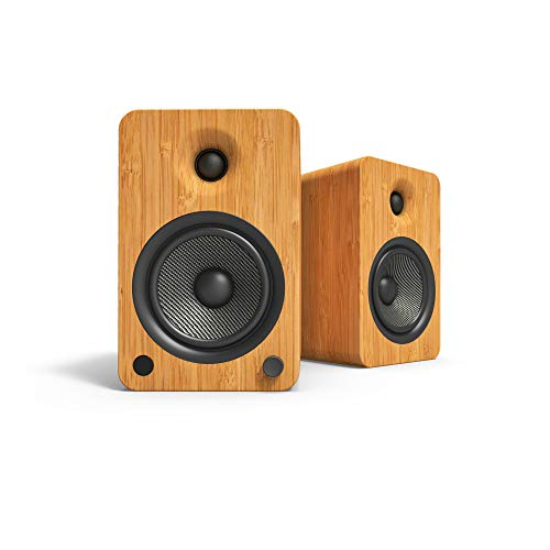 Kanto YU6 Powered Bookshelf Speakers with Bluetooth and Phono Preamp, Bamboo