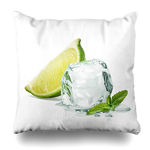 - Ahawoso Throw Pillow Cover Square 18x18 Closeup Green Tonic Slice Lime Wedge Ice Mint Cocktail Food Drink Gin Glass White Cool Chilled Pillowcase Home Decor Cushion Pillow Case
