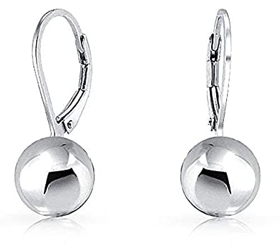 6eab7fe00fcff Simple Basic Dangling Leverback Round Bead Ball Drop Earrings For Women 925  Sterling Silver 8MM