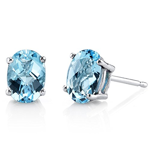 - 14 Karat White Gold Oval Shape 2.00 Carats Swiss Blue Topaz Stud Earrings