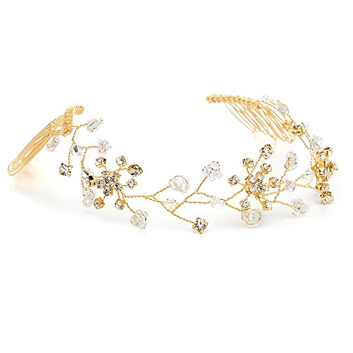 Mariell Clear Crystal Hair Vine for Brides, 14K Gold Hair Jewelry, Flexible Wedding Headpiece with Combs