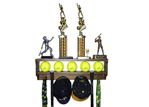 MedalAwardsRack Premier Baseball Ball Accessory Display Rack and Trophy Shelf (Stained Walnut)