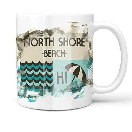 North Shore Monogram - Neonblond 11oz Coffee Mug US Beaches vacation North Shore Beach with your Custom Name
