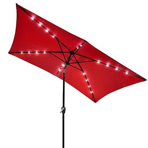 Yescom 10x6.5ft Rectangle Outdoor Patio Beach Market Aluminium Umbrella Sun Shade Solar Powered Led Light Crank Tilt (Red)