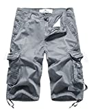 FOURSTEEDS Women's Casual Loose Fit Multi-Pockets Camouflage Twill Bermuda Cargo Shorts with Belt US 4 Grey