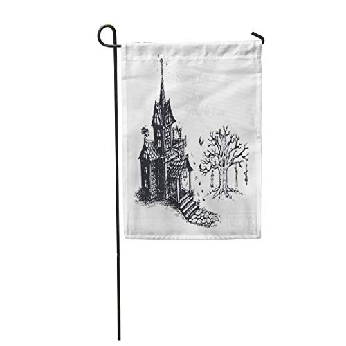 Semtomn Garden Flag 28x40 Inches Print On Two Side Polyester The Old Scary House and Tree Sketch Drawn with Ink Vintage Design for Halloween Home Yard Farm Fade Resistant Outdoor House Decor Flag ()