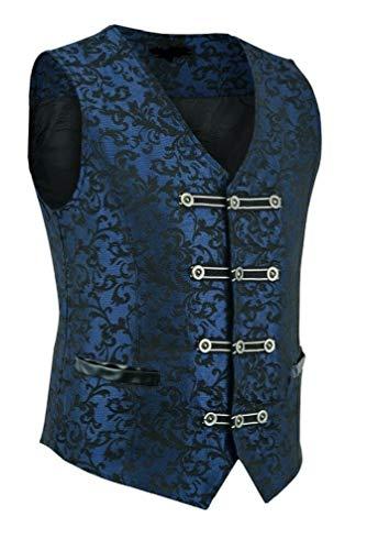 Men's Vest Waistcoat Damask Velvet Gothic Steampunk Aristocrat VTG/Brocade Vest/Blue Damask/USA Design/USA Sizes (2XL, Blue Brocade) ()