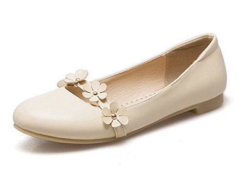 Odomolor Women's Pull-On Low-Heels Pu Floral Round-Toe Pumps-Shoes Beige ssOjjd
