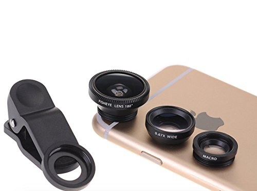3 in 1 Lens for Smartphones Laptops and Tablet - iPhone Samsung HTC iPad ... - Macro lens Fisheye lens .67 Wide Angle lens - Microfiber carrying bag - Universal clip