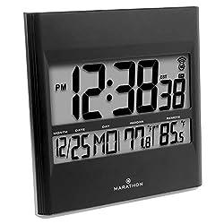 Marathon CL030027BK Atomic Wall Clock with 8 Timezones, Indoor/Outdoor Temperature & Date in Black - Batteries Included