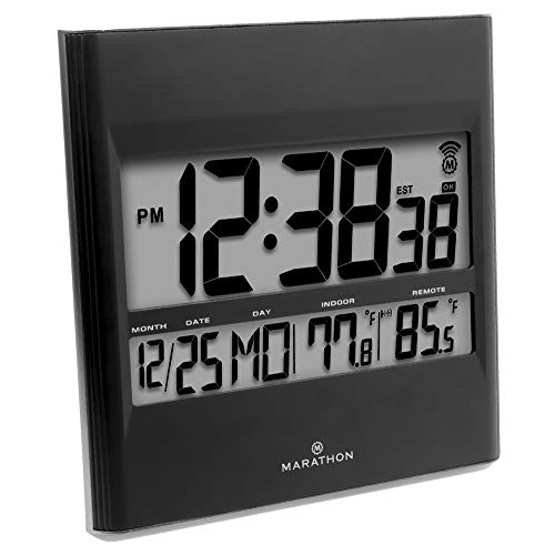 Marathon CL030027BK Atomic Wall Clock with 8 Timezones, Indoor/Outdoor Temperature & Date in Black - Batteries Included