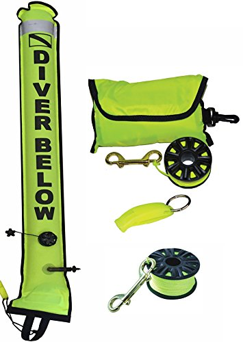 DiveSmart 5ft Scuba Diving Open Bottom Surface Marker Buoy (SMB) Kit with 100ft Finger Spool ABS Dive Reel, High Visibility Surface/Signal Marker, Whistle (Yellow)