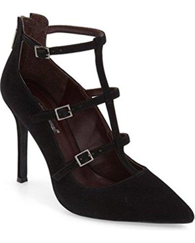 BCBGeneration TAMERRA Women Pointed Toe Suede Heels BLACK,7.5